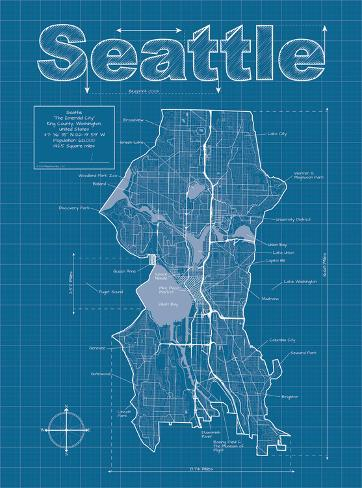 seattle artistic blueprint map prints by christopher estes at