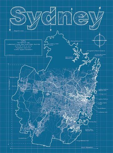 sydney artistic blueprint map art by christopher estes at