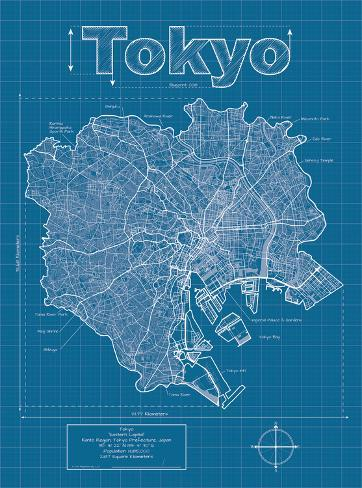 tokyo artistic blueprint map posters by christopher estes at