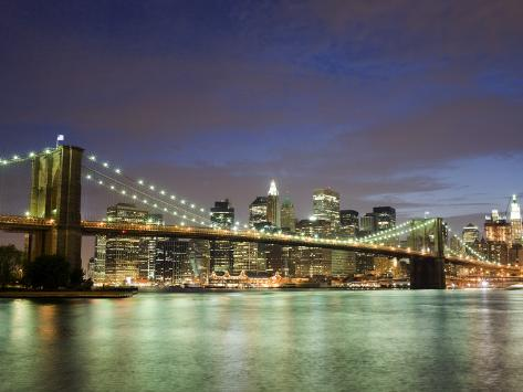 Brooklyn Bridge and Manhattan Skyline at Dusk Photographic Print