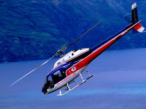 Helicopter About to Land, Queenstown, New Zealand Photographic Print