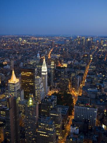 Manhattan from Empire State Building Observation Deck at Dusk Photographic Print
