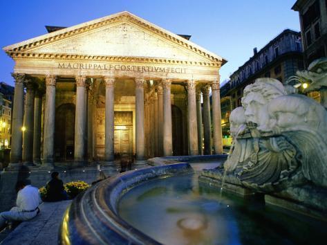 Pantheon at Dusk, Rome, Lazio, Italy Photographic Print