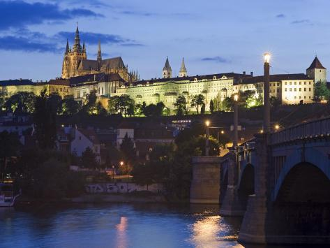 Prague Castle and St Vitus Cathedral at Dusk Photographic Print