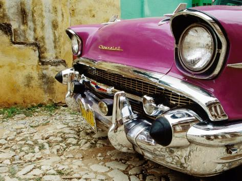 1957 Chevy Bel Air Car Front Grill And Bumper In Cobbled Street
