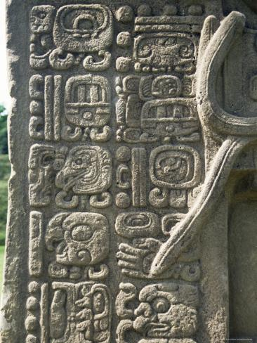 Mayan Stela J, Dating from 756 AD, Quirigua, Unesco World Heritage Site, Guatemala, Central America Photographic Print