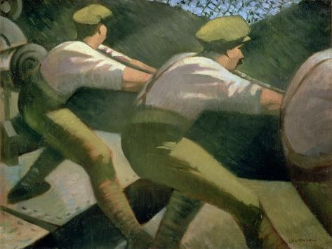 Loading a Gun in the Trenches, 1918 Giclee Print