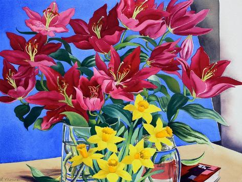 Magenta Lilies and Daffodils Giclee Print