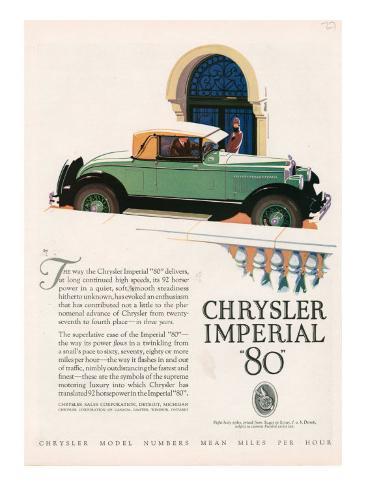 Chrysler Imperial, Magazine Advertisement, USA, 1927 Giclee Print