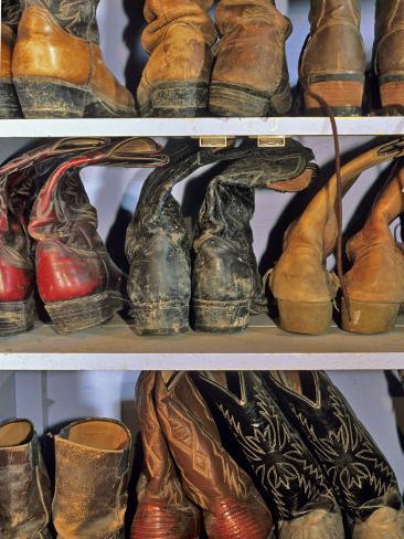Cowboy Boots at Ranch, Marion, Montana, USA Photographic Print