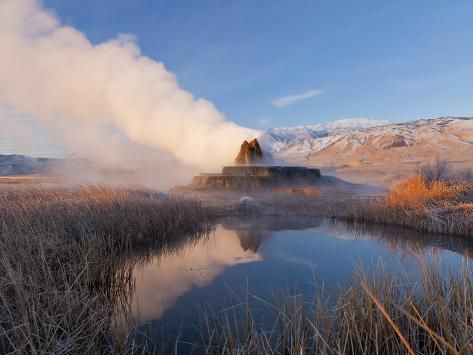 Fly Geyser with Snow Capped Granite Range in the Black Rock Desert Near Gerlach, Nevada, USA Photographic Print