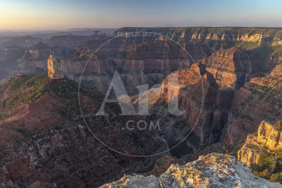 Mt Hayden From Imperial Point On The North Rim In Grand Canyon National Park Arizona Usa