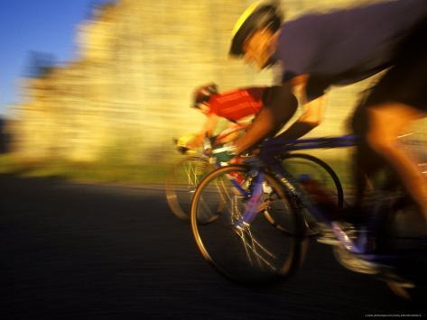 Pair of Road Cyclists Speed Downhill Photographic Print