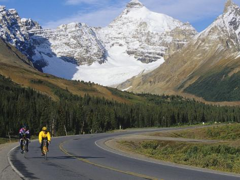 Road Bicycling on the Icefields Parkway, Banff National Park, Alberta, Canada Photographic Print