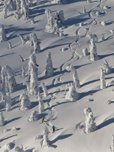 Skiing Through the Snowghosts at Whitefish Mountain Resort, Montana, USA Photographic Print