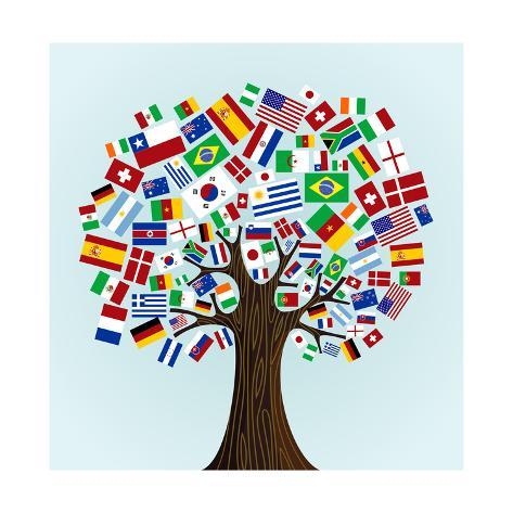 Flags Of The World Tree Art Print