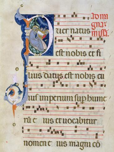 Page with Historiated Initial 'P' Depicting the Nativity, from a Gradual from the Monastery of San  Lámina giclée