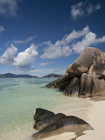 Anse Source D'Agent, Popular White Sand Beach, Island of La Digue, Seychelles Photographic Print
