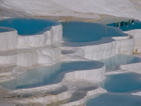 Limestone Hot Springs and Reflection of Tourists, Cotton Castle, Pamukkale, Turkey Photographic Print