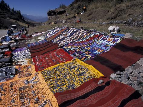 Textiles for Sale near Incan Site, Tambomachay, Peru Photographic Print