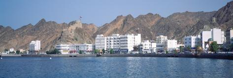 City at the Waterfront, Muttrah, Muscat, Oman Stretched Canvas Print