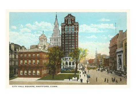 City Hall Square, Hartford, Connecticut Art Print