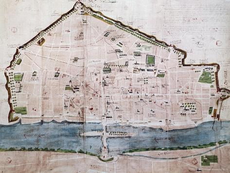 City Map Of Orleans From Th Century Manuscript France Th - Orleans france map