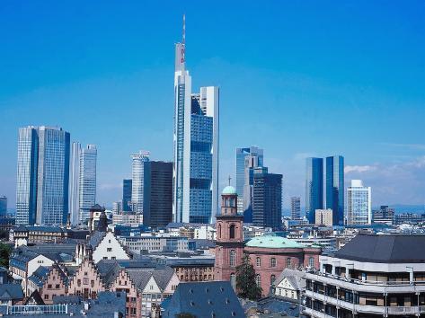 City Skyline of Frankfurt, Germany with Rooftops of Houses and Buildings Photographic Print