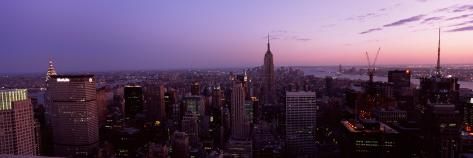 Cityscape at Dusk, Empire State Building, East Side of Manhattan, New York City, New York Stretched Canvas Print
