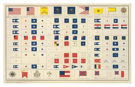 Civil War: Flags, Badges, c.1895 Art Print