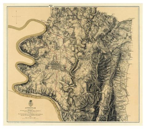 Civil War Map: Antietam, c.1869 Art Print
