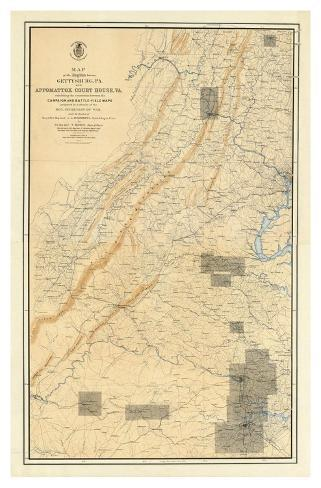 Civil War Map of the Region between Gettysburg and Appomattox Court House, c.1869 Art Print