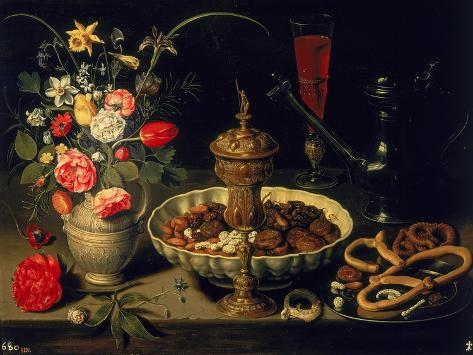 Still Life of Flowers and Dried Fruit, 1611 Giclee Print