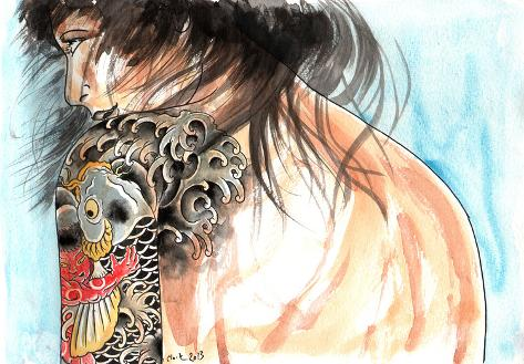 Lady Kintaro Stretched Canvas Print