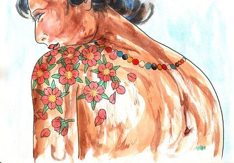 Lady Sakura Stretched Canvas Print