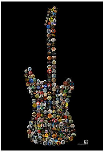 Classic Guitar Rock Buttons by Gdogs Cosmic Rock Poster Poster