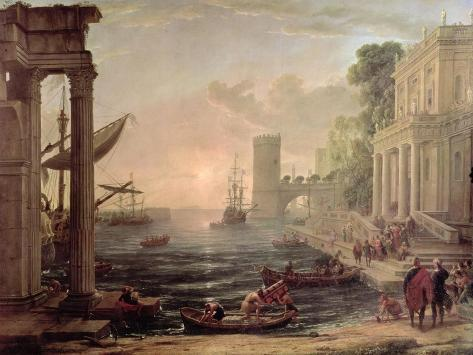 Seaport with the Embarkation of the Queen of Sheba, 1648 Giclee Print
