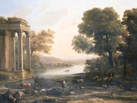 A Pastoral Landscape with Ruined Temple, C.1638 Giclee Print