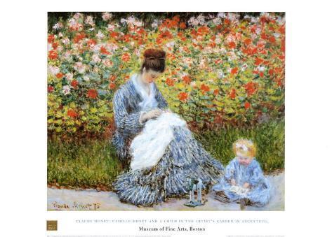 Camille Monet & Child in Artists Garden Art Print