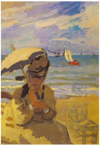 Claude Monet Camille Monet on the Beach at Trouville Art Print Poster Poster