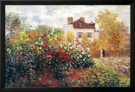 Claude Monet, El jardín del artista, arte lámina póster Póster enmarcado con plástico protector