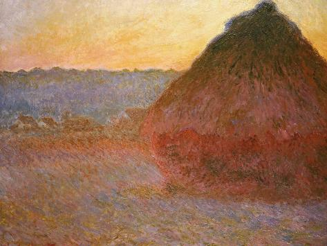 Haystacks, Pink and Blue Impressions, 1891 Giclee Print