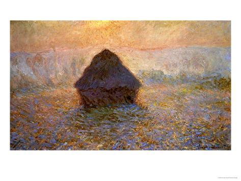 Haystacks, Sun on the Mist Giclee Print