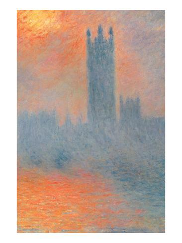 Houses of Parliament, Effect of Sunlight in the Fog Art Print