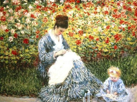 Madame Monet and Child in a Garden Giclee Print