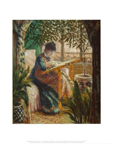 Madame Monet Embroidering, 1875 Art Print