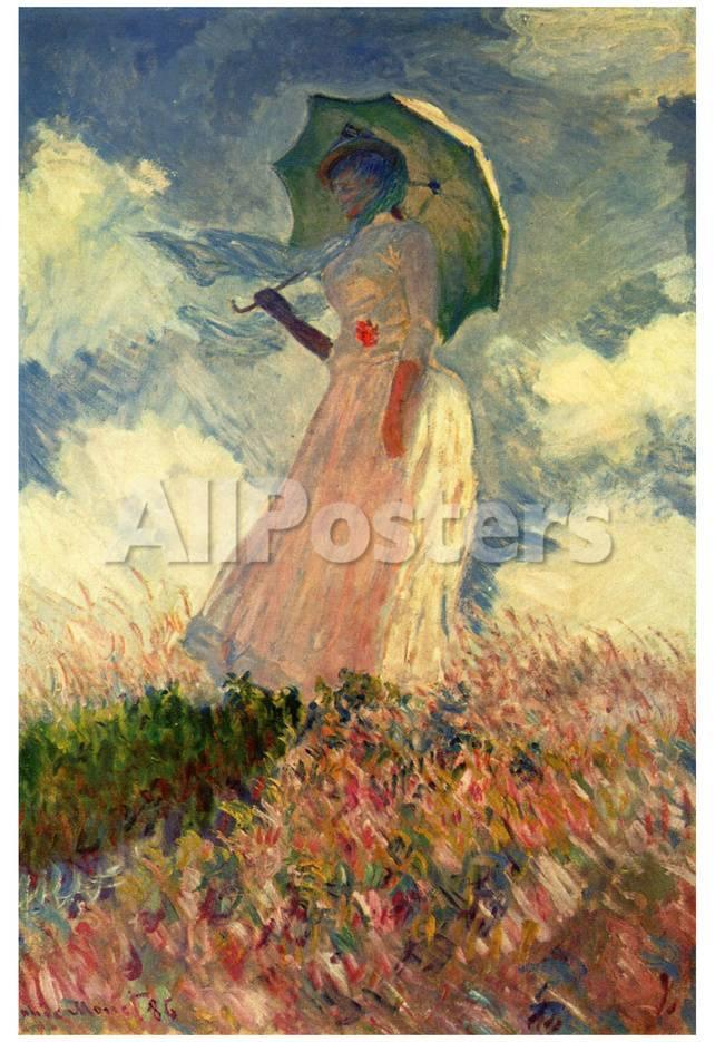 Claude Monet, Mujer con sombrilla, estudio, arte póster lámina ...