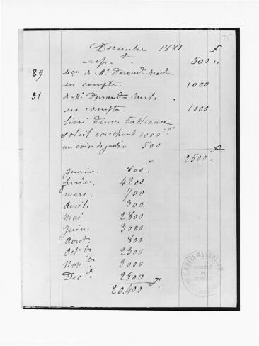 Page from Monet's Account Book Detailing Sales to Durand-Ruel Lámina giclée