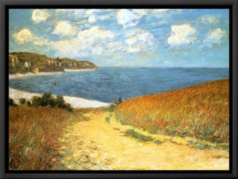 Path Through the Corn at Pourville, 1882 Framed Canvas Print