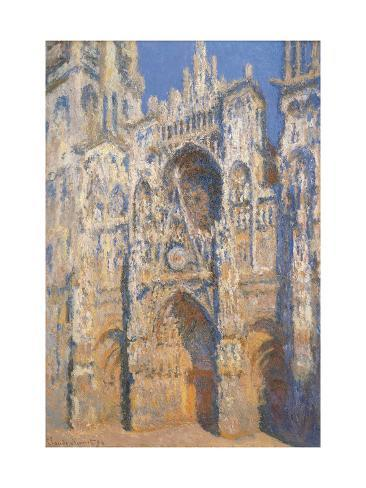 Rouen Cathedral, Morning Sun, Harmony in Blue Lámina